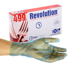 4991 | Glove, Revolution Blue Cast Poly, Textured, PF, Small, 100/Box - 10 Box/Case