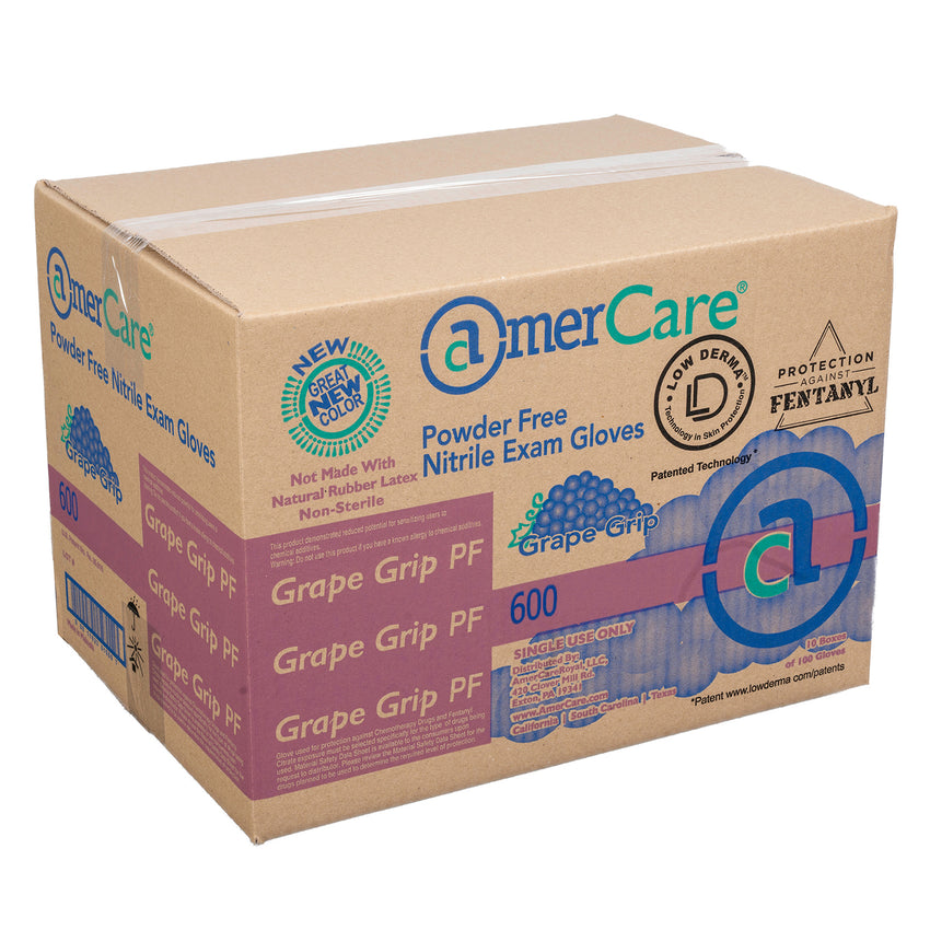 6000 | Grape Grip Nitrile Gloves, Exam Grade, Powder-Free, X-Small, 10/100 Case Front