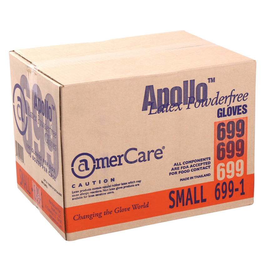 6991 | Glove, Apollo Latex, PF, Small, 100/Box - 10 Box/Case Case Front