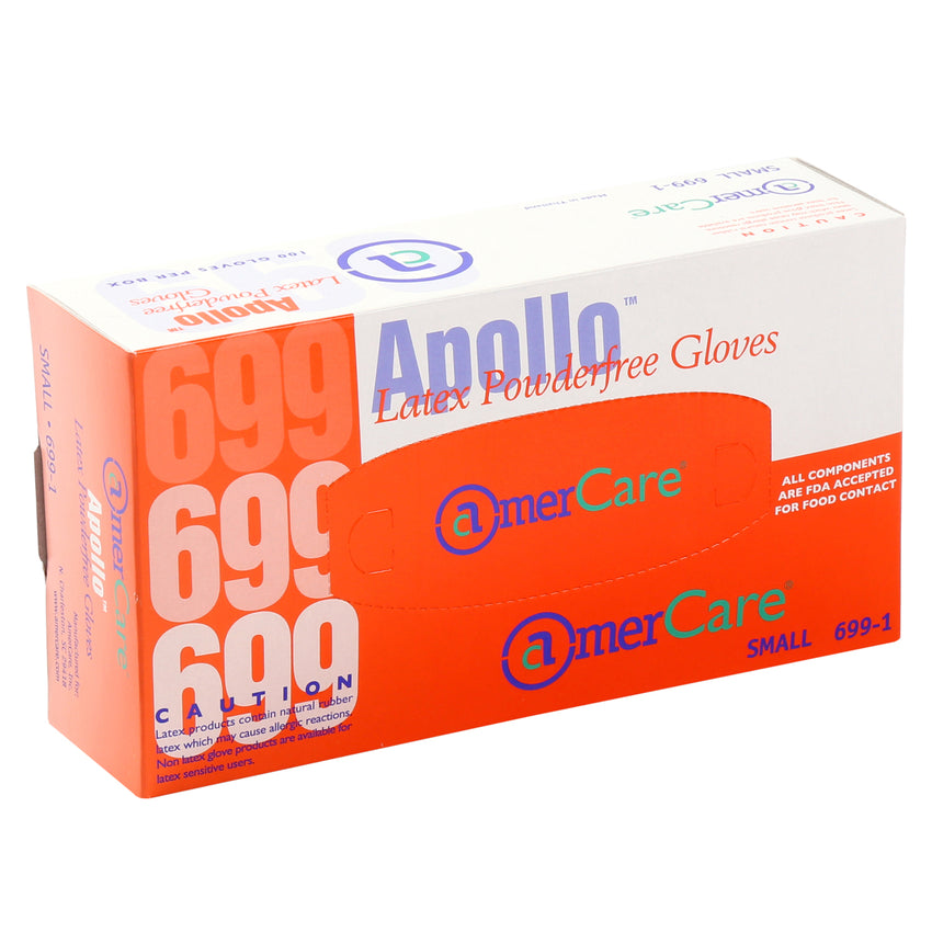 6991 | Glove, Apollo Latex, PF, Small, 100/Box - 10 Box/Case Inner Standing