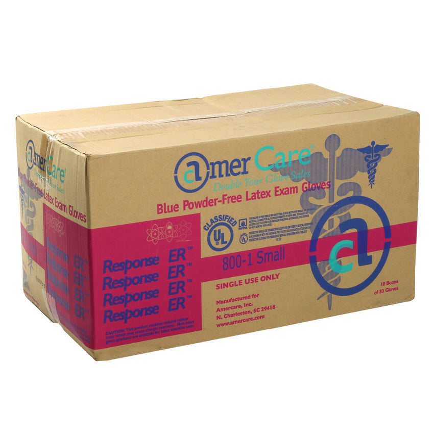 8001 | Glove, Exam Grade, Response ER Latex, PF, Small, 50/Box - 10 Box/Case Case Front