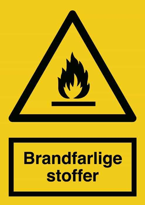 Advarselsskilt, Brandfarlige stoffer,, Backner ApS