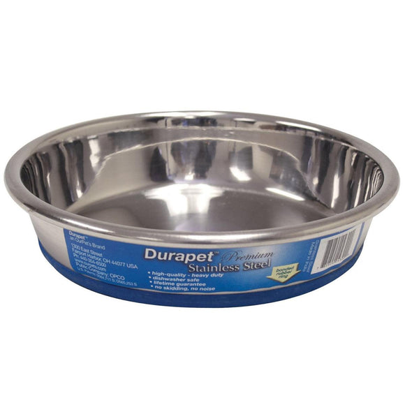 Our Pets Durapet Premium Rubber-bonded Stainless Steel Dish 1 Cup Silver 5.33
