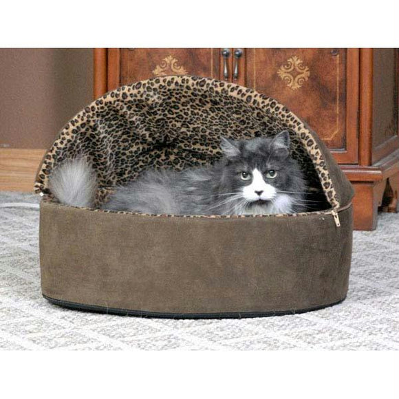 Thermo-kitty Bed Deluxe Hooded Small Mocha 16