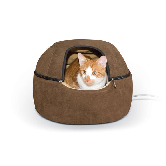 Kitty Dome Bed Heated Small Chocolate 16