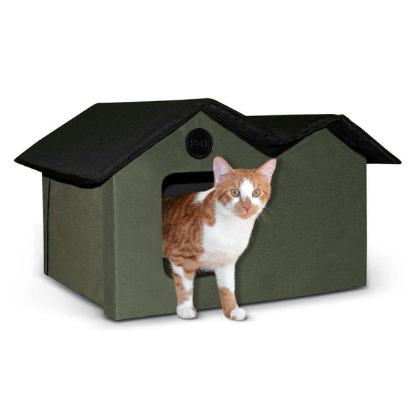 K&h Pet Products Unheated Outdoor Kitty House Extra Wide Olive - Black 21.5