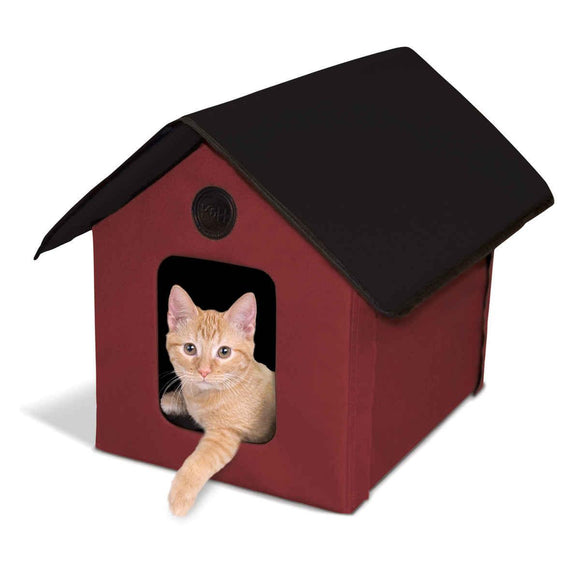 K&h Pet Products Outdoor Heated Kitty House Barn Red - Black 22