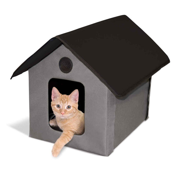 K&h Pet Products Heated Outdoor Kitty House Gray - Black 22