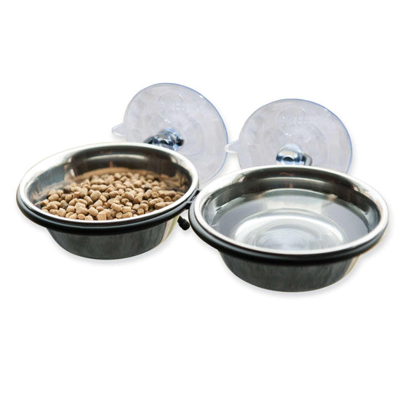 K&h Pet Products Ez Mount Up And Away Kitty Double Diner Stainless Steel-black 10