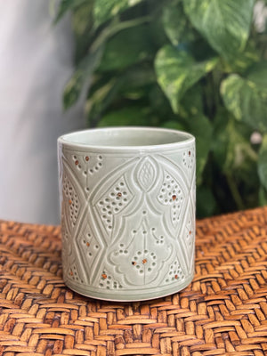 Moroccan Engraved Straight Ceramic Pot