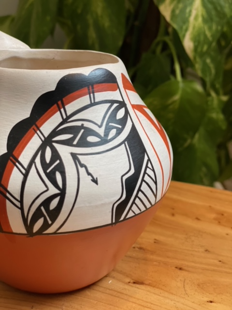 Hand Painted Turtle Vase with  by Native Potter Carol Gachupin