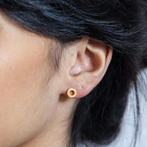 Gold Circle Outline Stud Earrings