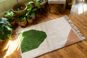 Moroccan Pile Knot Rug: Olive Green and Blush
