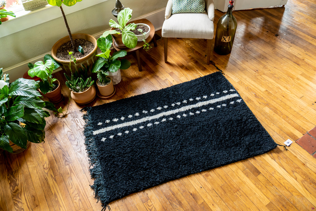 Moroccan Pile Knot Rug: Black and White Lineage