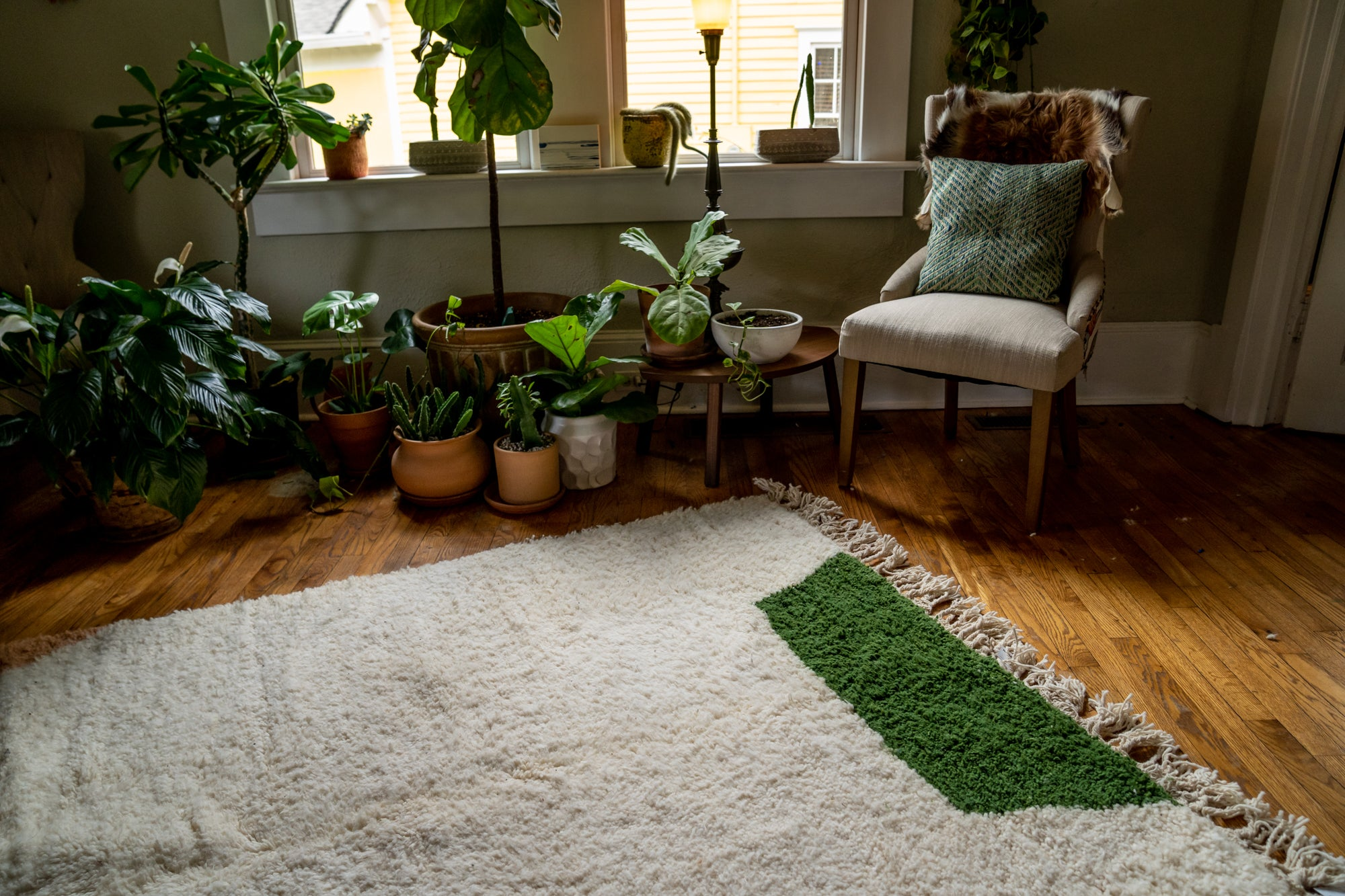 Moroccan Pile Knot Rug: Green, Blush and Black Forms