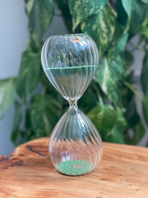 Vintage Hourglass with Green Sand