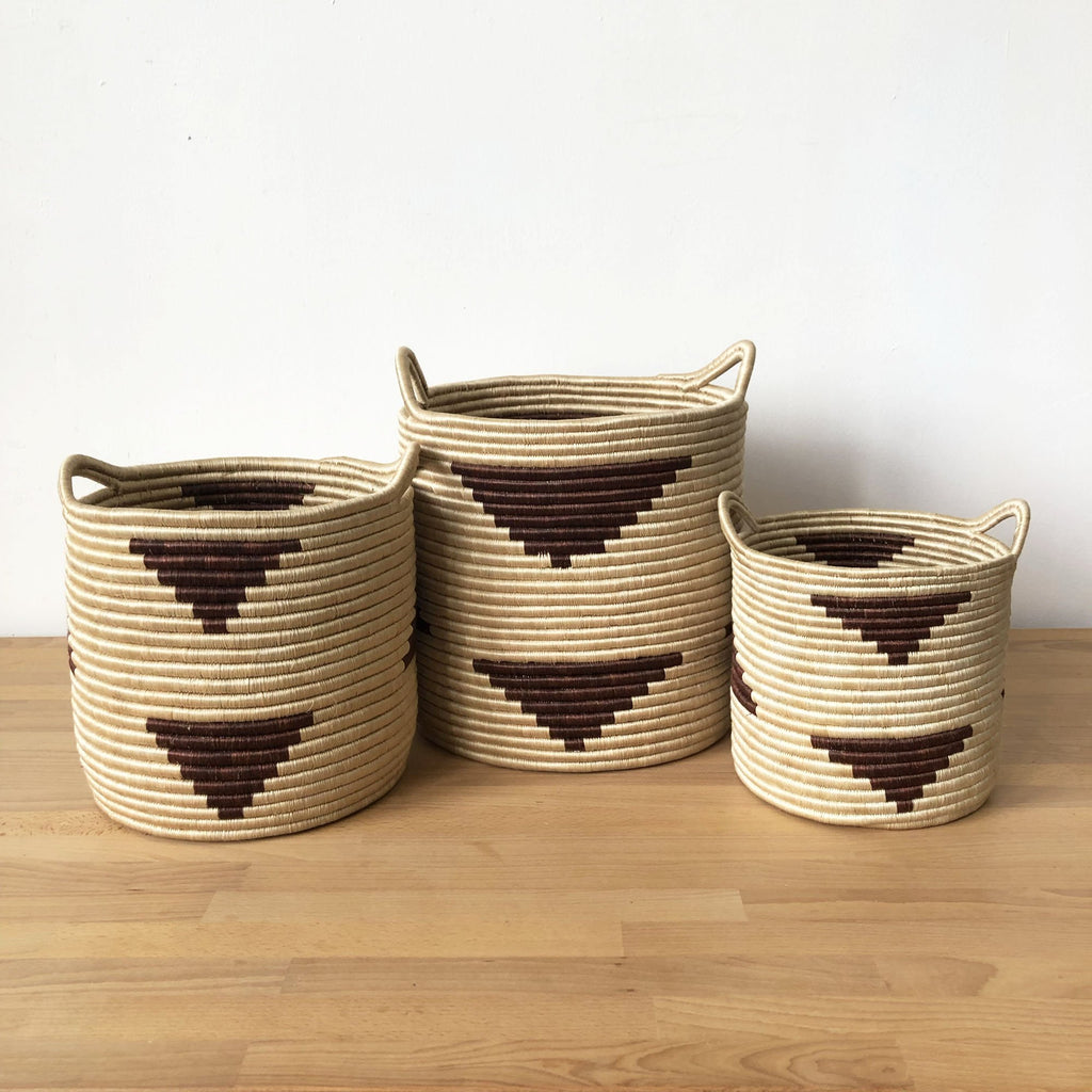 Handled Storage Basket - Brick Triangle