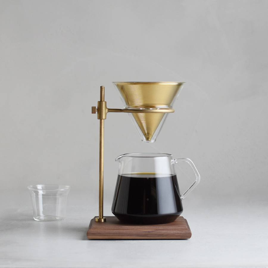 Kinto Slow Coffee Style - 4 Cup Brass Brewer w/ Stand
