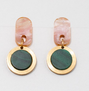Ruth Earrings - Pink w/ Malachite