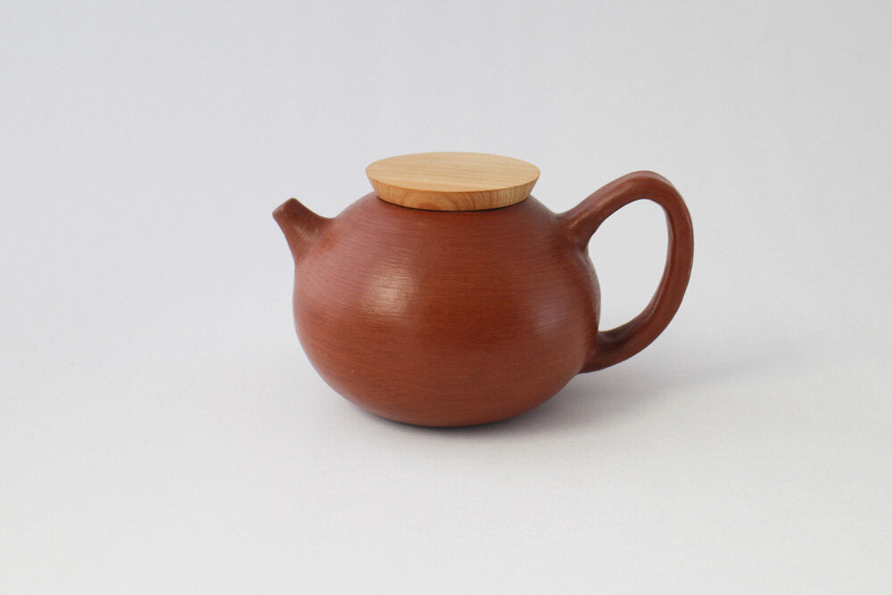Chonita Teapot made from red clay by hand in Oaxaca Mexico