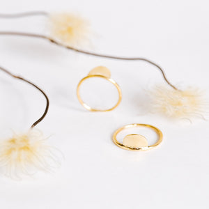 Brass Stacking Rings - New Moon