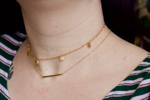 Gold Coin Charm Choker Necklace