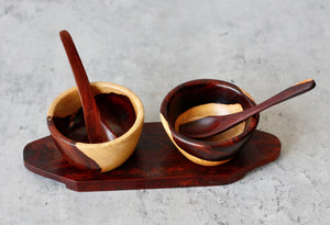 Wooden Dual Serving Bowls