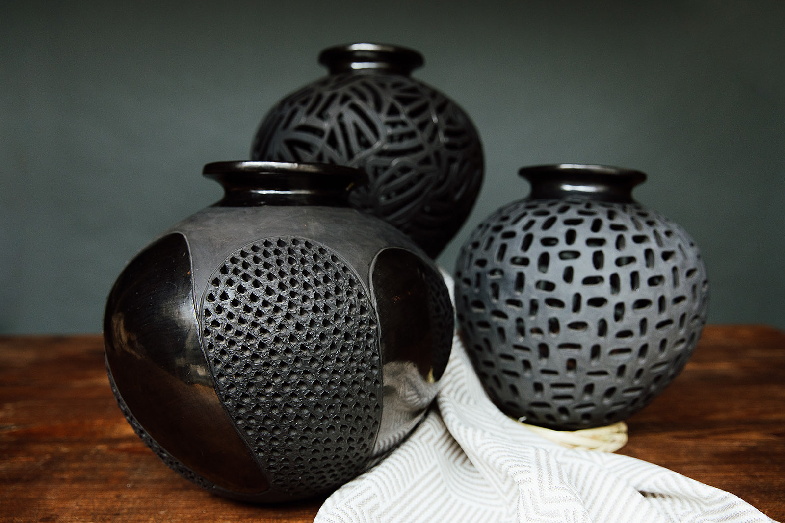 Open work Matte Vase Black Clay Pottery Vase
