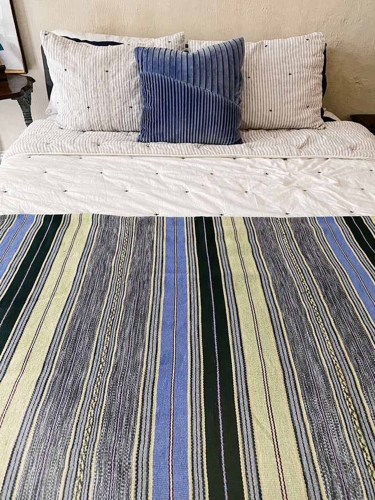 Algodon-Guatemala Bed Cover-Sky Blue and Chartreuse