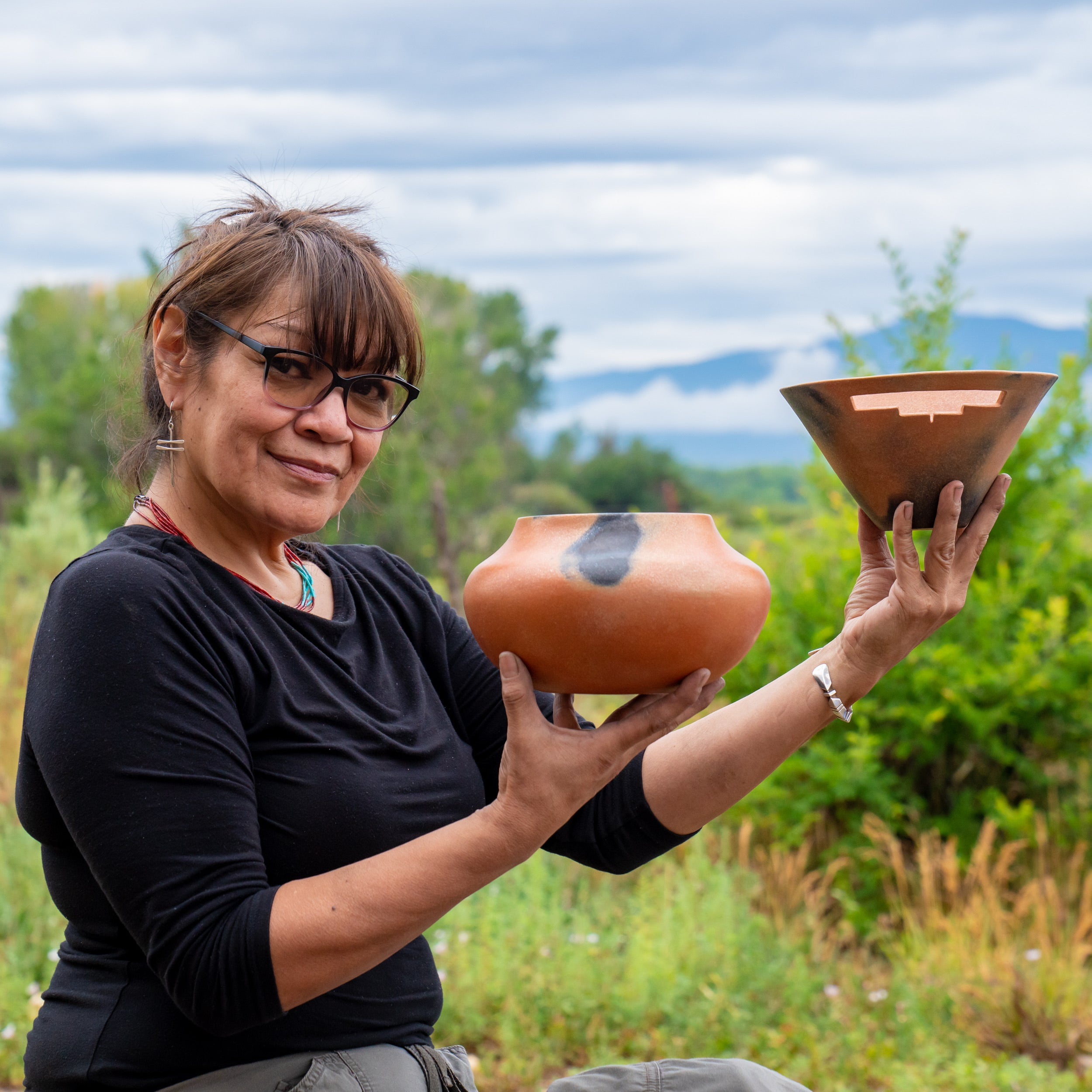 Angie Yazzie Micaceous Clay Serving Bowls