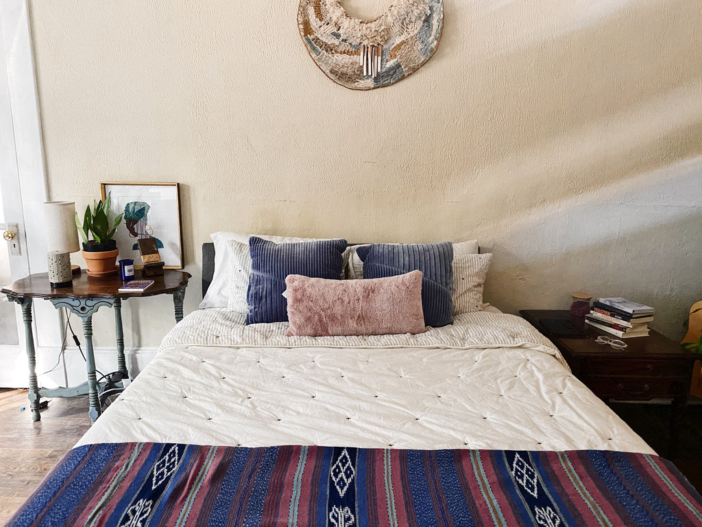 Algodon-Guatemala Bed Cover-Pink, Blue and Indigo