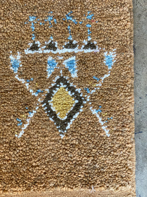 Square Pile Knot Rug - Brown with Light Blue Abstract Pattern