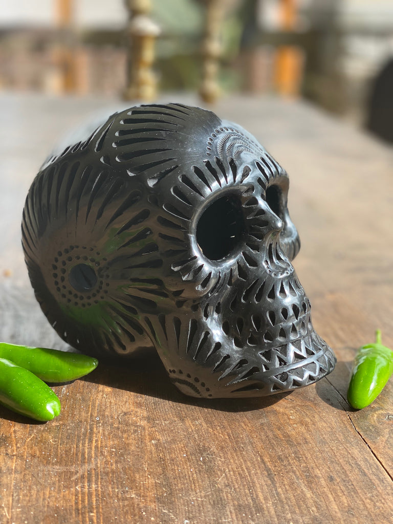 Oaxacan Black Clay Skulls