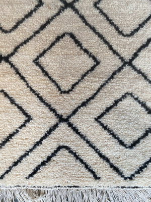 Pile Knot Rug - Black & White Diamond Runner