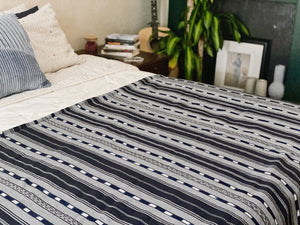 Algodon-Guatemala Bed Cover-Grey and Navy