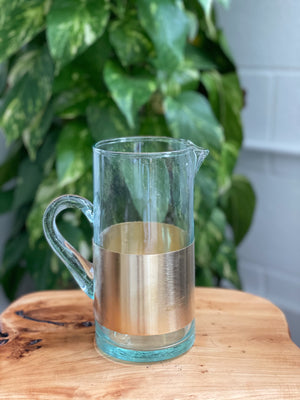 Glass Pitcher with Brass Cuffed Base