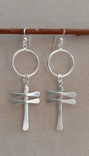 Sterling Silver Hoop Dragonfly Earrings
