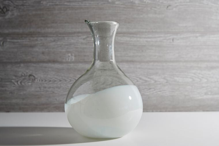 Handblown Glass Carafe-White Base