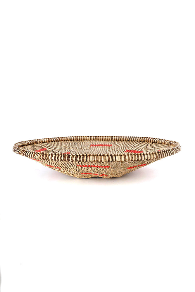 Plateau Basket with Red Recycled Plastic Splashes