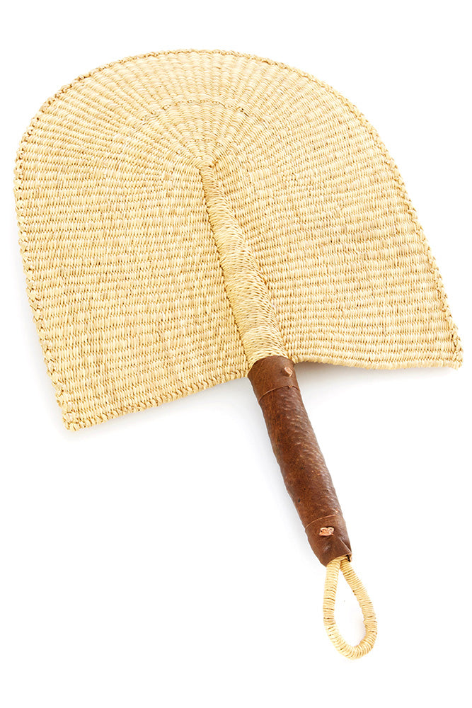 All Natural Veta Vera African Hand Fan with Leather Handle