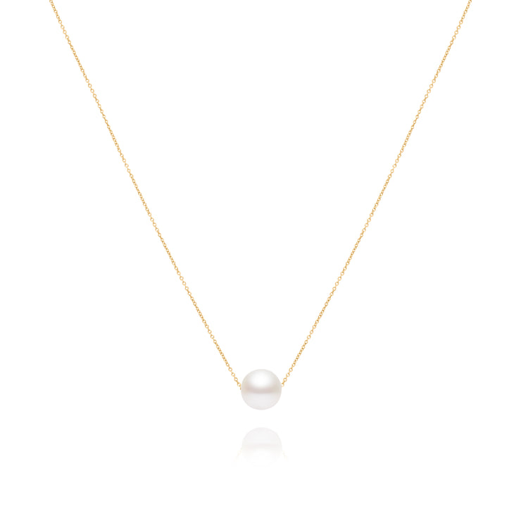 Solitaire White Pearl Necklace
