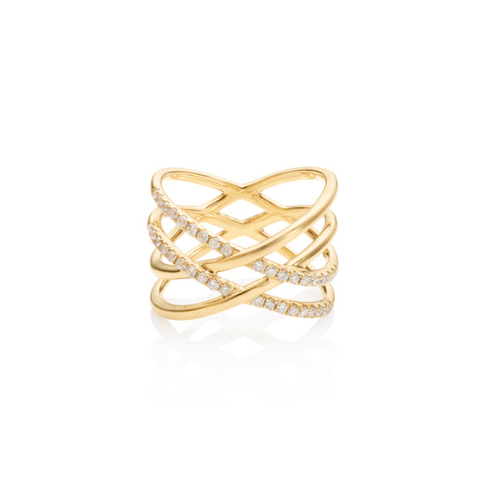 Diamond Double Cross Ring
