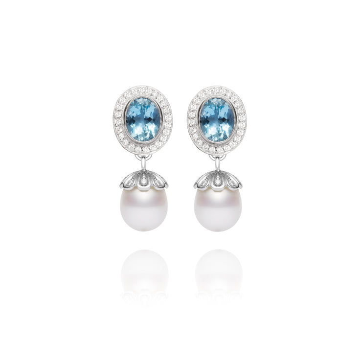 Aquamarine Pearl Drop Earrings