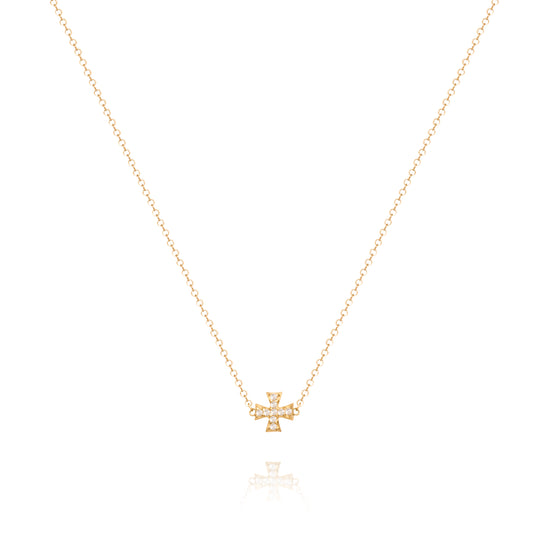 Diamond Maltese Cross Bead Necklace