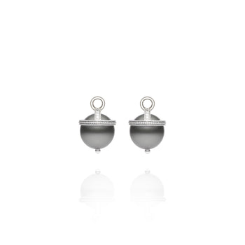 White Gold Tahitian Pearl Orb Earring Charms