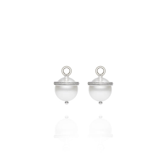 White Gold South Sea Pearl Orb Earring Charms