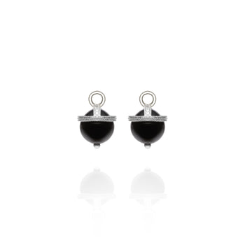 White Gold Black Onyx Orb Earring Charms