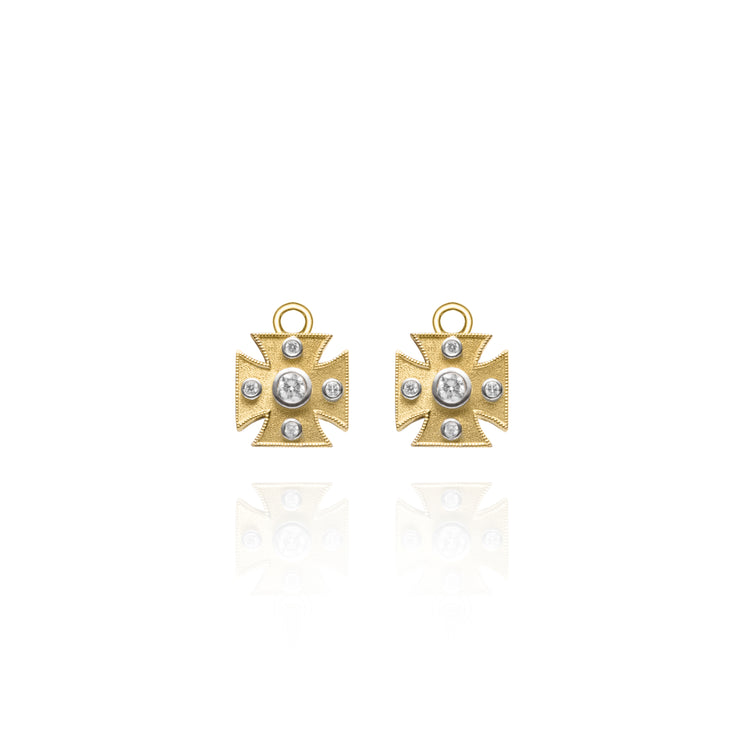 Diamond Maltese Cross Yellow Gold Earring Charms