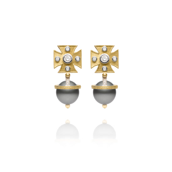 Signature Yellow Maltese Cross Tahitian Pearl Earrings