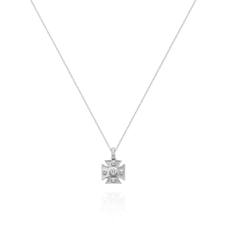 Signature White Maltese Cross Pendant